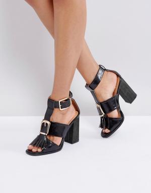 Raid Черные босоножки на каблуке с пряжкой Mabel. Цвет: черный