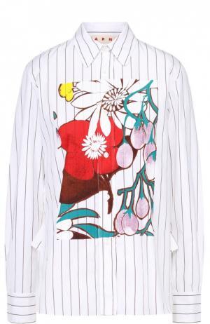 Блуза прямого кроя в полоску с цветочным принтом Marni. Цвет: белый