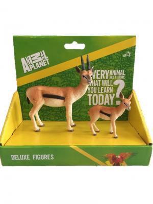 Набор фигурок Mojo (Animal Planet) в упаковке: Газель Томсона самец (M) и детёныш (S). Цвет: черный, бежевый, светло-коричневый