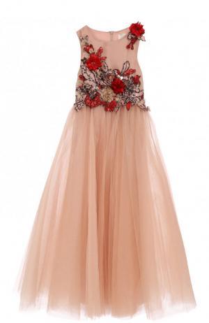 Платье-макси с многослойной юбкой и вышивкой пайетками бусинами Mischka Aoki. Цвет: бежевый