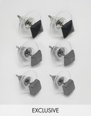 DesignB London 3 пары сережек-гвоздиков. Цвет: серебряный