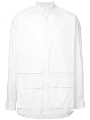 Рубашка с карманами клапанами Juun.J. Цвет: белый