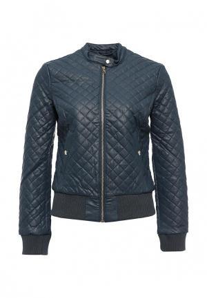Куртка кожаная oodji. Цвет: синий