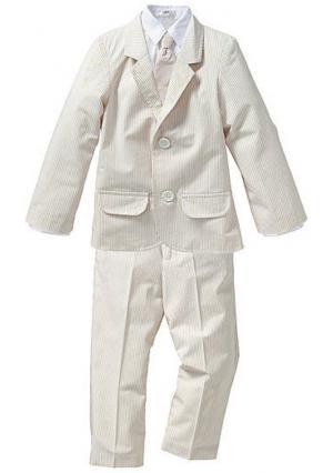 Костюм, 4 части: пиджак + брюки рубашка галстук. Цвет: песочно-бежевый/белый в полоску