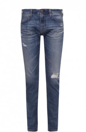 Зауженные джинсы с потертостями Ag. Цвет: синий