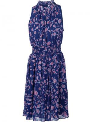 Расклешенное платье с цветочным принтом Rebecca Taylor. Цвет: синий