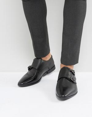 ASOS Черные кожаные монки. Цвет: черный