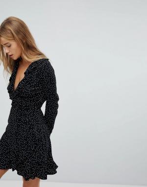 Nobody's Child Платье в горошек с запахом и длинными рукавами Nobodys. Цвет: черный