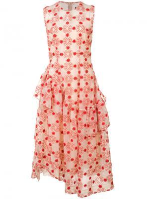 Платье с узором и рюшами Simone Rocha. Цвет: телесный