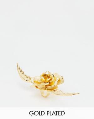 Mordekai Кольцо в виде цветка с покрытием золотом 24 кт. Цвет: золотой