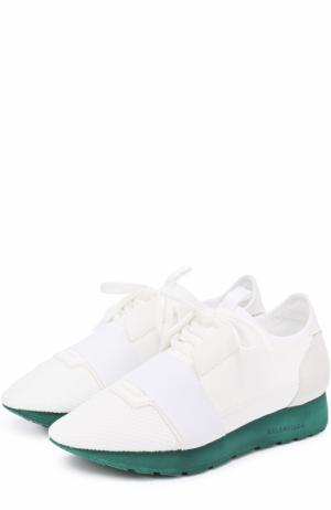 Комбинированные кроссовки на контрастной подошве Balenciaga. Цвет: белый
