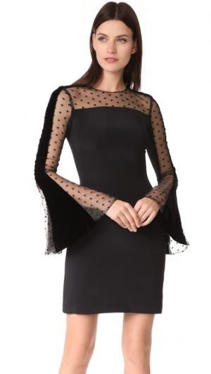 Платье с расклешенными рукавами Monique Lhuillier. Цвет: голубой