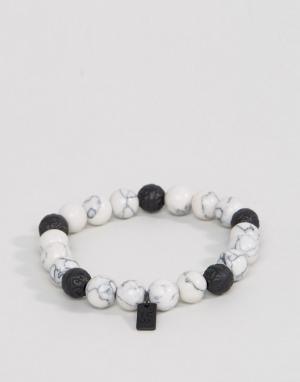 Icon Brand Белый браслет из бусин с мраморным эффектом. Цвет: белый