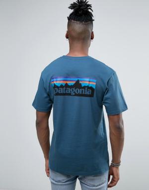 Patagonia Синяя меланжевая футболка классического кроя с принтом. Цвет: синий