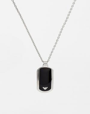 Emporio Armani Ожерелье с жетоном. Цвет: серебряный