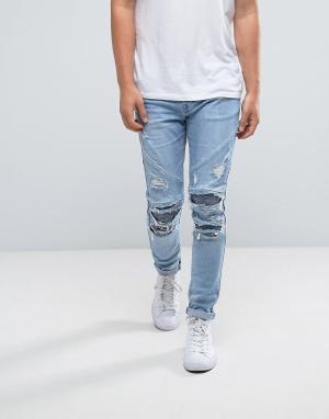 Cayler & Sons Синие облегающие байкерские джинсы с рваной отделкой. Цвет: синий