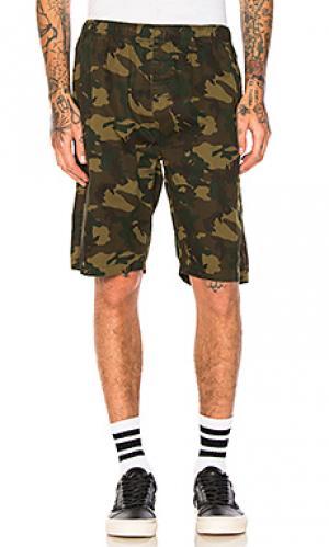 Камуфляжные пляжные шорты Stussy. Цвет: военный стиль