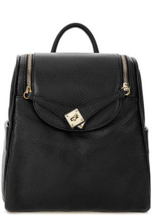 Черный рюкзак из зерненой кожи Bruno Rossi. Цвет: черный