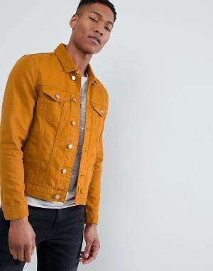 River Island Джинсовая куртка горчичного цвета. Цвет: желтый