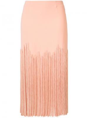 Юбка миди с бахромой Sally Lapointe. Цвет: розовый и фиолетовый