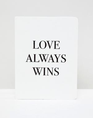 Monki Блокнот с надписью Love Always Wins. Цвет: белый