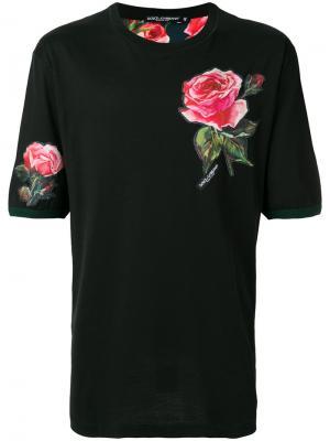Футболка с заплаткой в виде розы Dolce & Gabbana. Цвет: чёрный