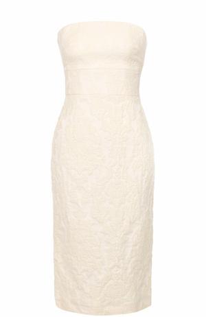 Приталенное платье-бюстье с фактурной отделкой Tara Jarmon. Цвет: бежевый