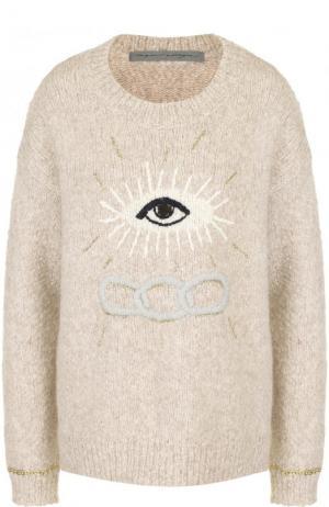 Шерстяной пуловер с круглым вырезом Raquel Allegra. Цвет: бежевый
