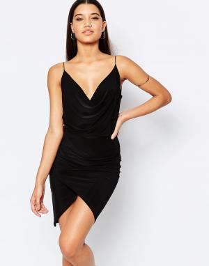 Club L Асимметричное платье со свободным воротом. Цвет: черный