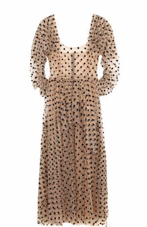 Приталенное платье-миди в горох Isa Arfen. Цвет: бежевый