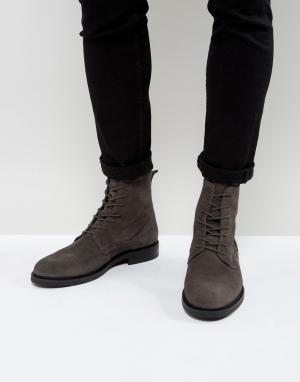 Zign Серые замшевые ботинки на шнуровке. Цвет: серый
