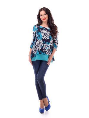 Блузка Liza Fashion. Цвет: синий