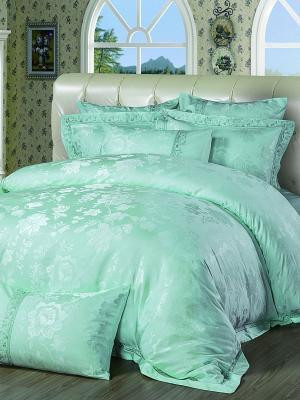 Постельное белье семейное, жаккард. сатин, 2 нав. 50х70, вышивка, бирюзовый Asabella. Цвет: зеленый