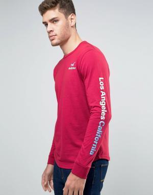 Hollister Красный лонгслив. Цвет: красный