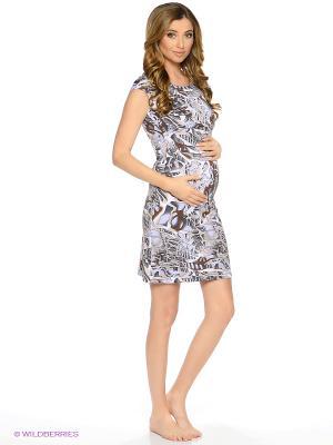 Ночная сорочка для беременных и кормления 40 недель. Цвет: серый, коричневый