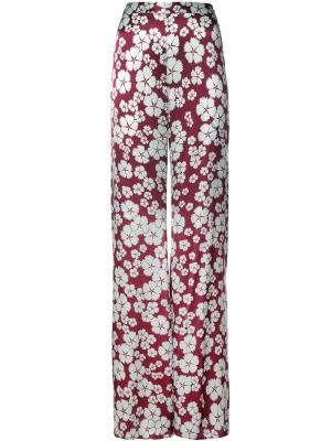 Брюки с высокой талией и цветочным принтом Alexis. Цвет: розовый и фиолетовый