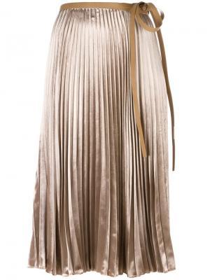 Плиссированная юбка Valentino. Цвет: телесный