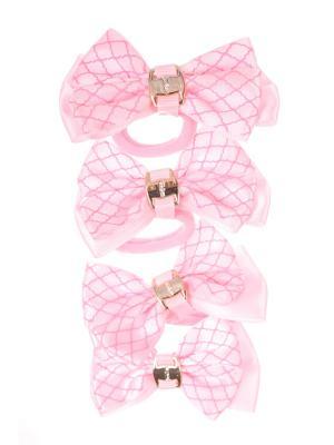Резинки бантики с волнистой сеткой, светло розовый, набор 4 шт Радужки. Цвет: бледно-розовый