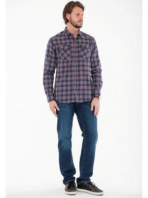 Рубашка Westrenger. Цвет: темно-синий, рыжий