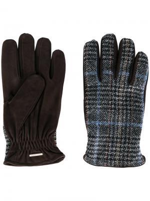 Перчатки в клетку Lardini. Цвет: коричневый