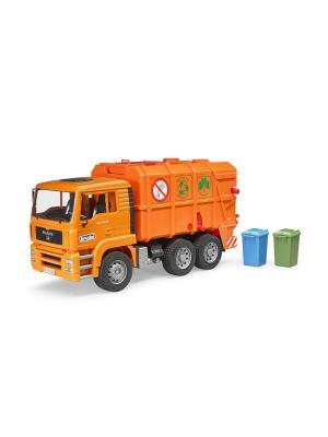 Мусоровоз MAN TGA (цвет оранжевый) (подходит модуль со звуком и светом H) Bruder. Цвет: оранжевый