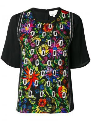 Блузка с цветочной вышивкой 3.1 Phillip Lim. Цвет: чёрный