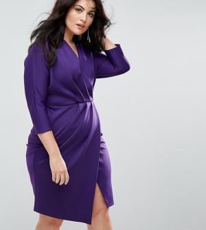 Closet London Plus Платье-футляр с плиссировкой и запахом. Цвет: фиолетовый