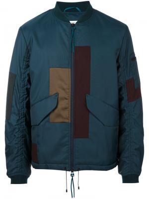 Куртка-бомбер в стиле пэчворк Oamc. Цвет: синий