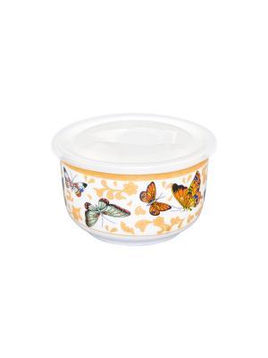 Салатник с пластиковой крышкой Бабочки Elan Gallery. Цвет: белый, желтый