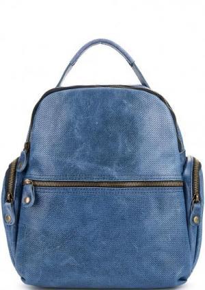 Синий кожаный рюкзак с двумя отделами Bruno Rossi. Цвет: синий