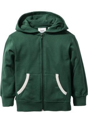 Трикотажная куртка с капюшоном, Размеры  80/86-128/134 (темно-зеленый) bonprix. Цвет: темно-зеленый