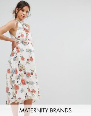 Hope and Ivy Maternity Платье с принтом и оборками &. Цвет: мульти