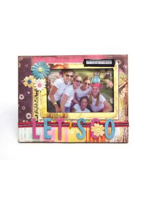 Фоторамка декорированная HomeMaster. Цвет: розовый, белый, красный