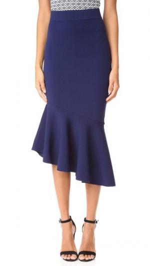 Асимметричная драпированная юбка Milly. Цвет: темно-синий